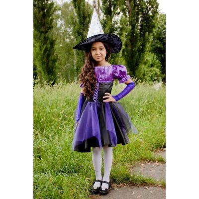 Карнавальный костюм для девочки Ведьма - Ведьмочка фиолетовая