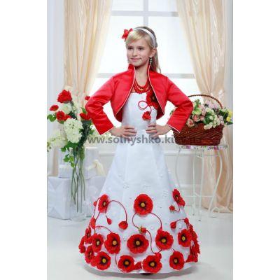Нарядное платье для девочки 6719 Маки длинное
