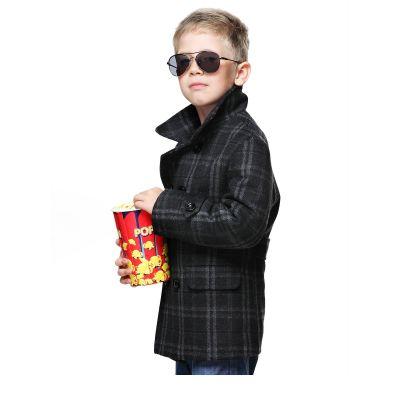 Пальто детское для мальчика D700 (Серая клетка)