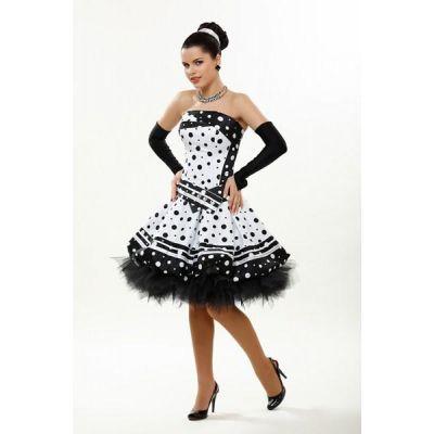 Короткое нарядное платье 2704 Горох