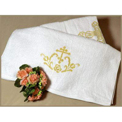 Крыжма полотенце для крещения золото 40-02(1)