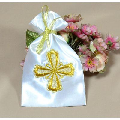 Мешочек для волос на крещение Золото (под заказ)