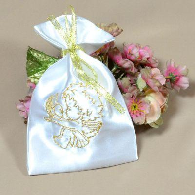 Мешочек для волос на крещение Ангел Золото (под заказ)