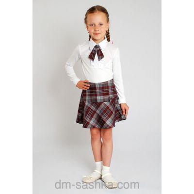 Юбка школьная для девочки + галстук 34-1646 шотландка