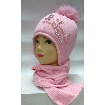 Шапка + шарф на флисе для девочки Балабон