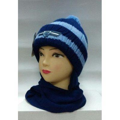 Шапка + шарф на флисе для мальчика Полоски-2