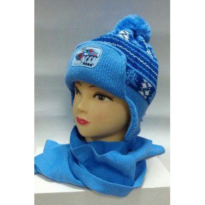Шапка + шарф на флисе для мальчика Елочки