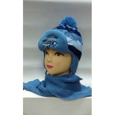 Шапка + шарф на флисе для мальчика Машинка