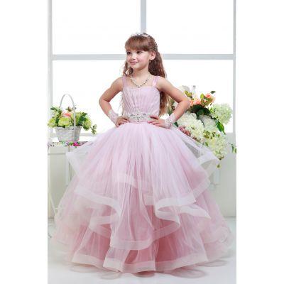 Нарядное платье для девочки 8703 пудра