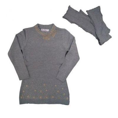 Туника - реглан + шарф для девочки 824 серый