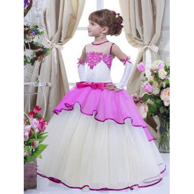 Нарядное платье для девочки 7708 малиновый