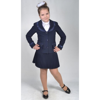 Костюм - двойка школьный Джулия (жакет+юбка) синий