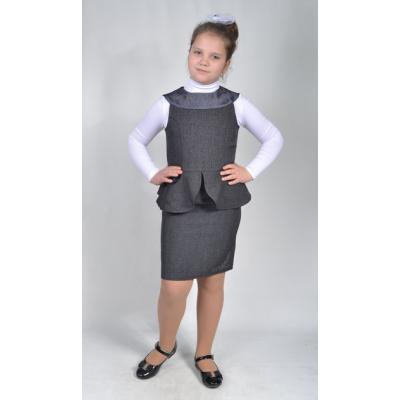 Сарафан школьный Лилия13132 серый Lakshmi Mix