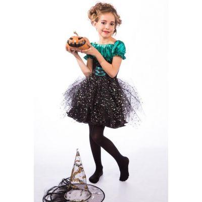Карнавальный костюм для девочки Ведьма - Ведьмочка зеленая