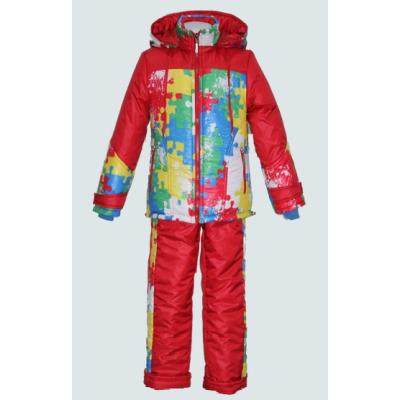 Комплект зимний для девочки Пазлы красный