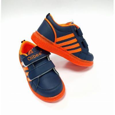 Кроссовки F620 светящиеся сине-оранжевый ТМ Clibee