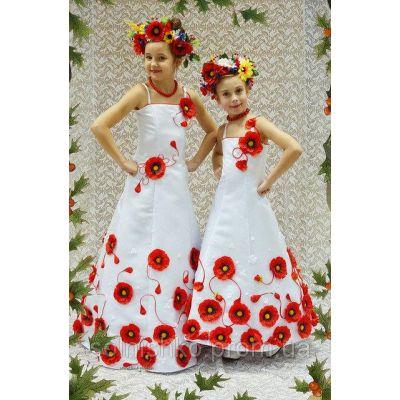 Платье - комплект для девочки Украина (3D-эффект)