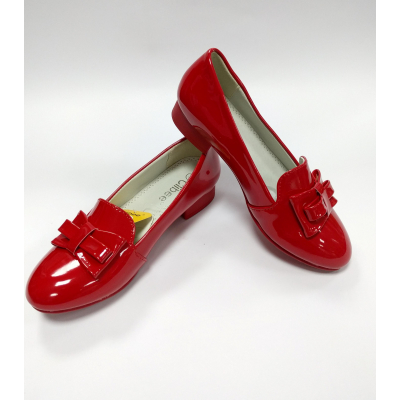 Лоферы детские - туфли для девочки D515 красные