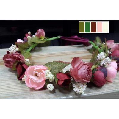Венок на голову для девочки розы Бордо ТМ Sonechko
