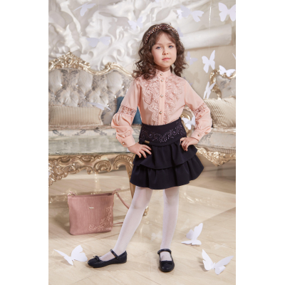 Юбка школьная Аманда черная с вышивкой