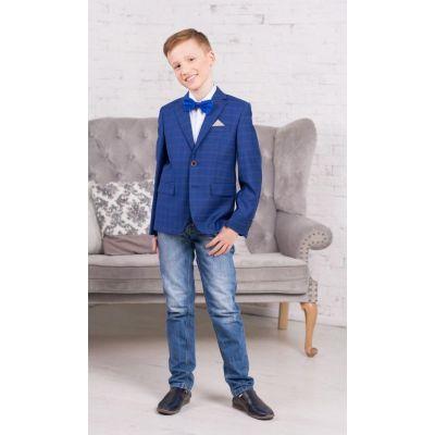 Пиджак для мальчика Адам 36.1 ТМ Новая форма (синяя клетка)
