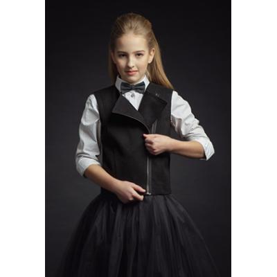 Жилет школьный на молнии для девочки 9535 черный ТМ Зиронька