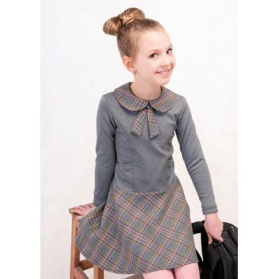 Платье для девочки школьное серое Д-ШФ-49