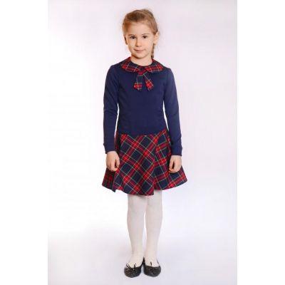 Платье для девочки школьное синее Д-ШФ-49