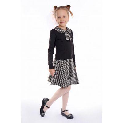 Платье для девочки школьное черное Д-ШФ-49
