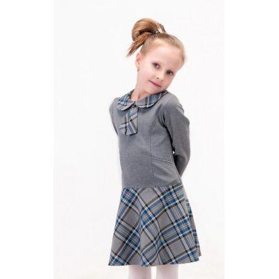 Платье для девочки школьное серо-голубое Д-ШФ-49