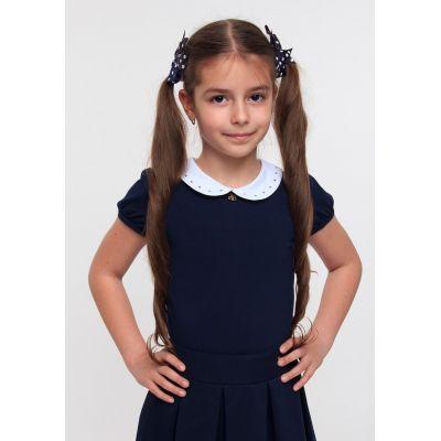 Блуза трикотажная для девочки ТМ Смил 114520/114521 темно синий