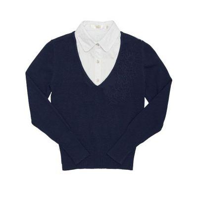 Джемпер - обманка школьная для девочки 60393 синий