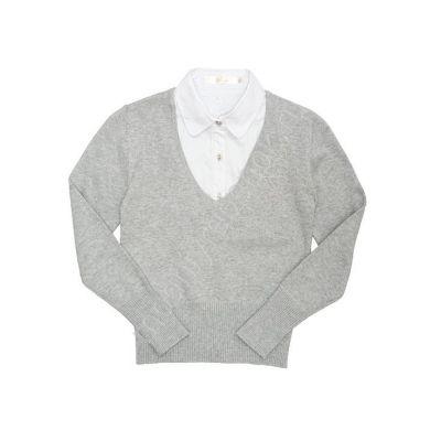 Джемпер - обманка школьная для девочки 60393 серый