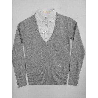 Джемпер - обманка школьная для девочки 60405 серый