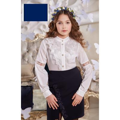Юбка школьная Амели ЮБ-42 Suzie синий с вышивкой
