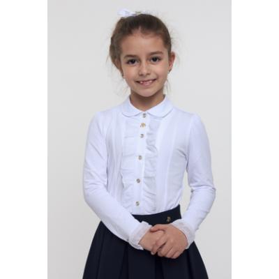 Блуза школьная трикотажная для девочки 114513 / 114514 белый ТМ SMIL