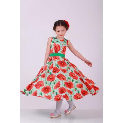 Нарядное платье для девочки Мята и  Маки