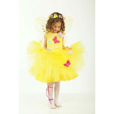 Карнавальный костюм для девочки Фея- Бабочка желтая