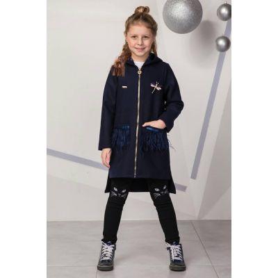Пальто для девочки синиее с капюшоном Мередит Suzie