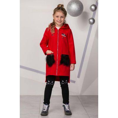 Пальто для девочки красное с капюшоном Мередит Suzie