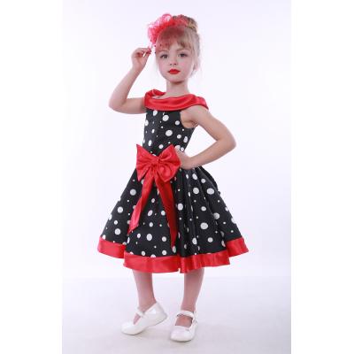 Нарядное платье для девочки Стиляги Горох бант 2 красный