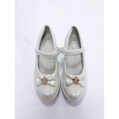 Туфли нарядные белые для девочки D9