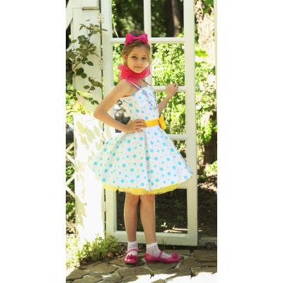 Нарядное платье для девочки Стиляги Голубой Горошек прокат