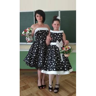 Платье Family look Стиляги M1707 Горох-бант