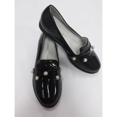 Туфли для девочки лаковые черные XS18-13 Солнце