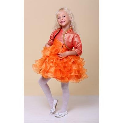 Нарядное платье для девочки Рюша оранжевая