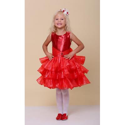Нарядное платье для девочки Рюша красная