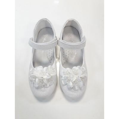 Туфли нарядные для девочки цветок SB98-2C белые