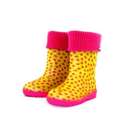 """Резиновые сапоги для девочки """"  Розовые сердца"""" ( желтые) 301/401"""