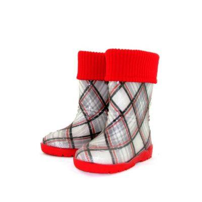 """Резиновые сапоги для девочки """"Шотландка красная"""" 401"""